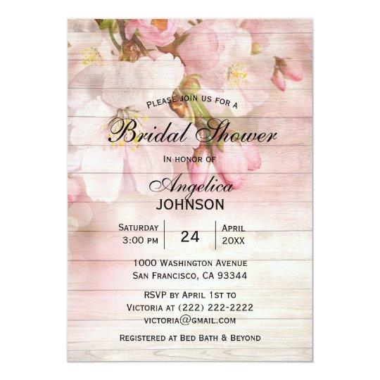 elegant rustic wood cherry blossom bridal shower invitation