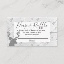 Elegant Rustic Wood & Deer Antlers Diaper Raffle Enclosure Card
