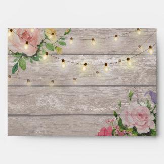 Elegant Rustic Wood Floral String Lights Wedding Envelope