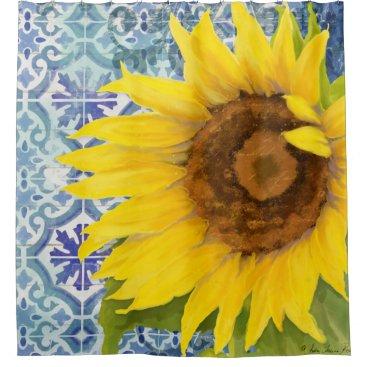 Beach Themed Elegant Rustic Wood Sunflower Floral Tile Pattern Shower Curtain