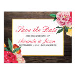 ELEGANT RUSTIC WOODEN Floral Peony SAVE THE DATE Postcard