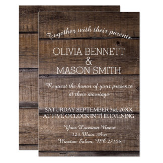 Elegant Rustic Wooden Pallet Wedding Invitation