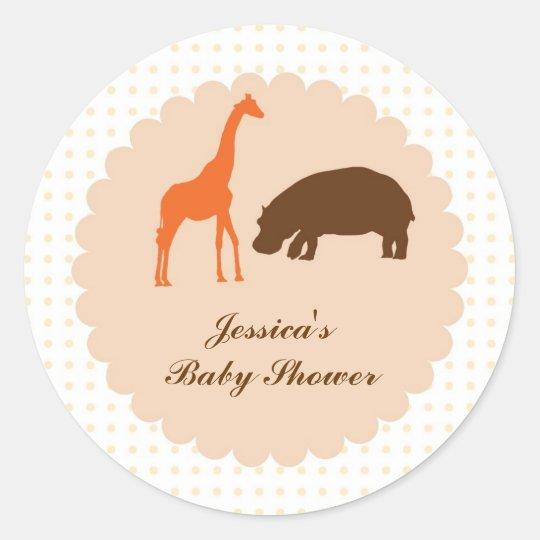 Elegant Safari Animals Baby Shower Favor Sticker