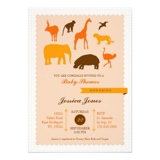 """Elegant Safari Baby Shower: Elegant Safari Animals Baby Shower Invitation 5"""" X 7"""