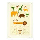 Elegant Safari Animals Birthday Invitation