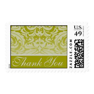 Elegant Sage Damask Thank You Postage Stamp