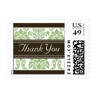 Elegant Sage Green Damask Ribbon Thank You Stamps