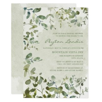 Elegant Sage Green Eucalyptus White Bridal Shower Invitation