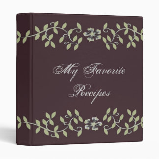 Elegant Sage Leaves Recipe Book 3 Ring Binder