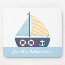 Elegant Sail boat Nautical Theme For Boys Mouse Pad
