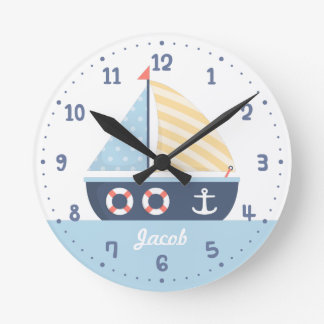 Elegant Sail boat Nautical Theme For Boys Room Round Clock