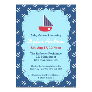 Elegant Sailboat Anchor Blue Nautical baby shower Card