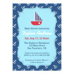 Elegant Sailboat Anchor Blue Nautical baby shower Invitations