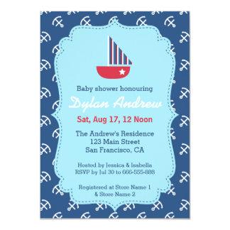 Elegant Sailboat Anchor Nautical baby shower Card