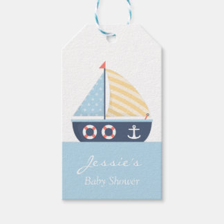 Elegant Sailboat Nautical Baby Shower Gift Tags