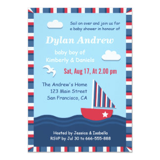 Elegant Sailboat Nautical baby shower party Personalized Announcements