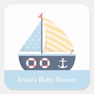 Elegant Sailboat Nautical Baby Shower Square Sticker