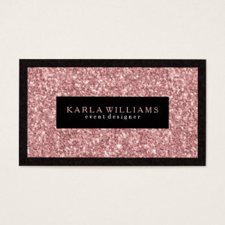 Elegant Salmon Pink Glitter With Black Accents Business Card