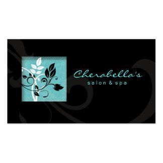 Elegant Salon Spa Floral Business Card Black Blue