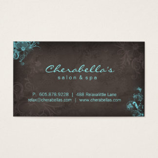 Elegant Salon Spa Floral Butterfly Blue Brown Business Card