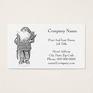 Elegant Santa in Christmas Sweater Pencil Drawing Business Card