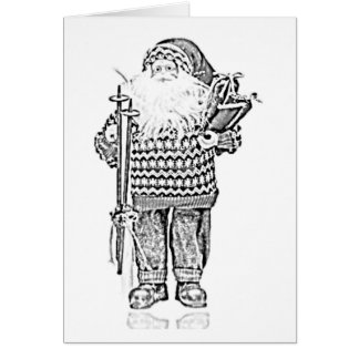 Elegant Santa in Christmas Sweater Pencil Drawing Card