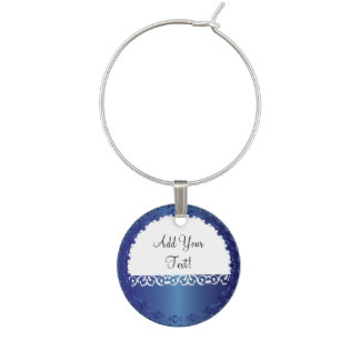 Elegant Sapphire All Occasion, DIY Text Wine Glass Charm