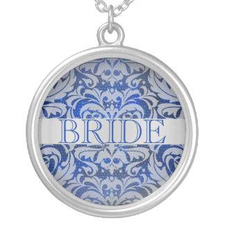 Elegant Sapphire Damask Bride Wedding Necklace
