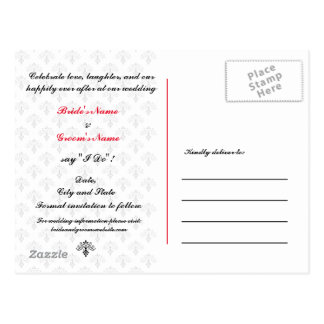 Elegant Save the Date Black White and Red Postcard