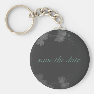 Elegant Save The Date Blue and Black and White Vin Basic Round Button Keychain