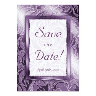 Elegant Save the Date Card Leaf Floral Purple Silv