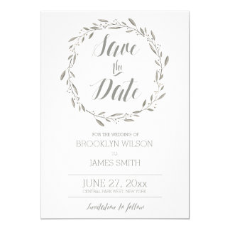 Elegant Save The Date Cards Grey Floral Wreath