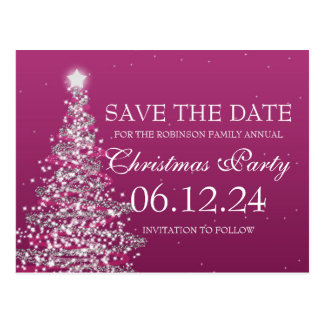Elegant Save The Date Christmas Party Pink Postcard