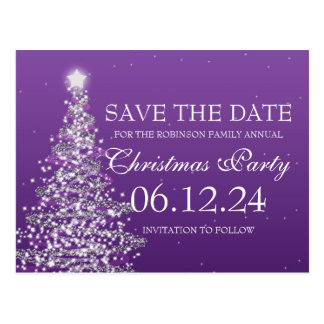 Elegant Save The Date Christmas Party Purple Postcard