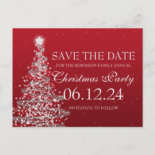Elegant Save The Date Christmas Party Red Announcement Postcard Zazzle