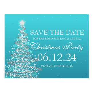 Elegant Save The Date Christmas Party Turquoise Postcard