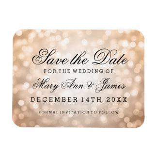 Elegant Save The Date Copper Glitter Lights Magnet