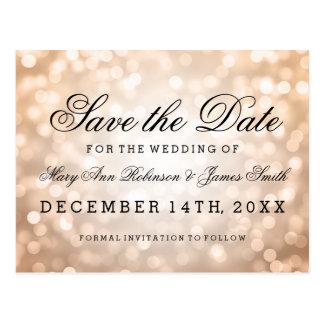Elegant Save The Date Copper Glitter Lights Postcard