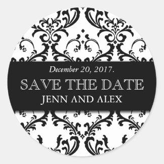Elegant Save the Date Damask Stickers Black