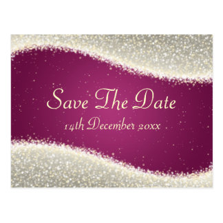 Elegant Save The Date Dazzling Sparkles Pink Postcard
