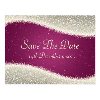 Elegant Save The Date Dazzling Sparkles Pink Postcard