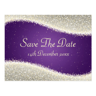 Elegant Save The Date Dazzling Sparkles Purple Postcard