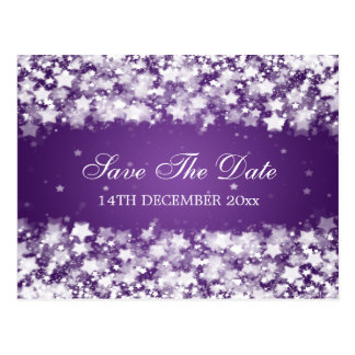 Elegant Save The Date Dazzling Stars Purple Postcard