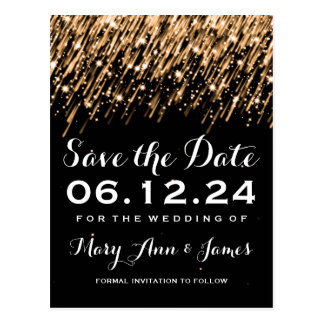 Elegant Save The Date Falling Stars Gold Postcard