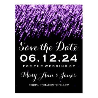 Elegant Save The Date Falling Stars Purple Postcard