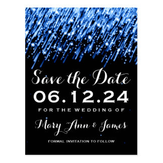 Elegant Save The Date Falling Stars Sapphire Blue Postcard