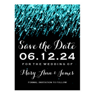Elegant Save The Date Falling Stars Turquoise Postcard