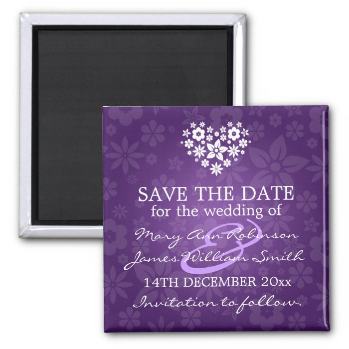 Elegant Save The Date Flowery Heart Purple 2 Inch Square Magnet