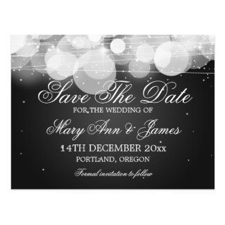 Elegant Save The Date Glow & Sparkle Black Postcards