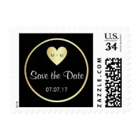 Elegant SAVE THE DATE Gold Black Wedding Stamps